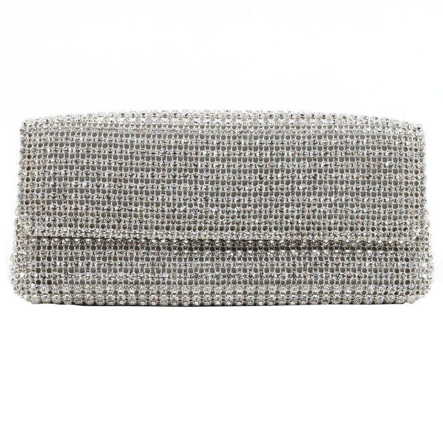 Escada Crystal Mesh Convertible Clutch Purse