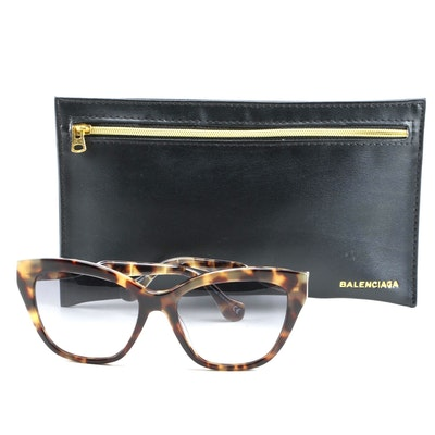 Balenciaga Cat-Eye Twist-Temple Havana Sunglasses in Tortoise with Zip Case