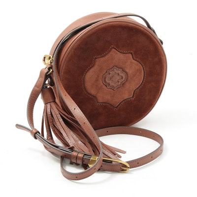 orYANY Embossed Leather and Suede Canteen Crossbody Bag with Tassel