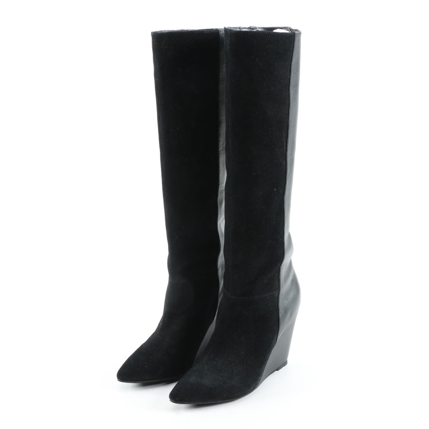 Ted Baker Black Suede and Leather Wedge Heel Resen Boots