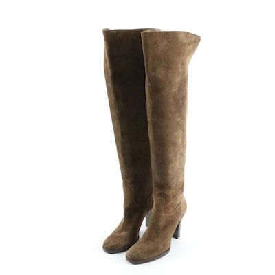 Ralph Lauren Collection Olive Suede Over-the-Knee Stacked Heel Boots