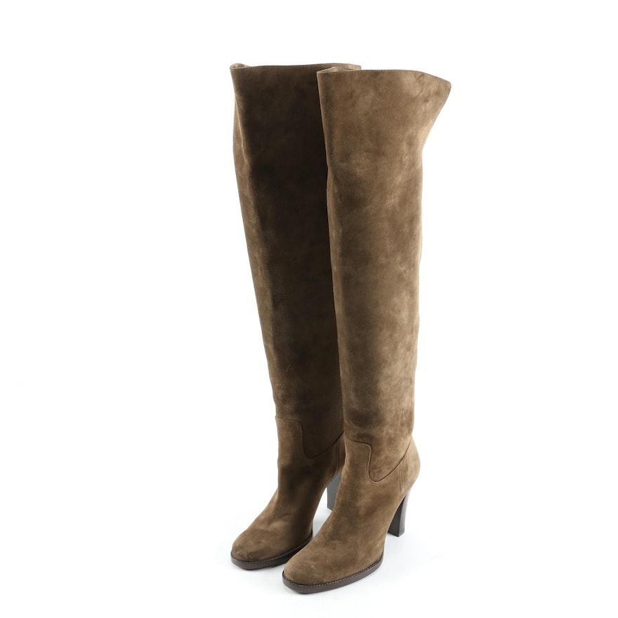 Ralph Lauren Collection Olive Suede Over-the-Knee Stacked Heel Boots