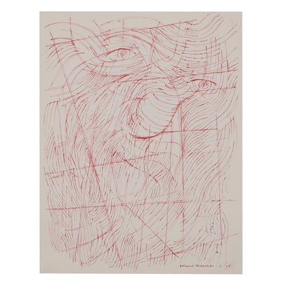 Leonard Maurer Red Ink Drawing of Abstract Figure