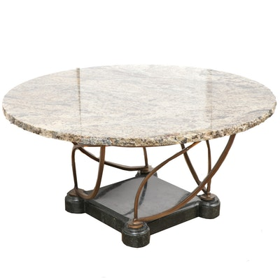 Granite, Marble, and Patinated Metal Coffee Table