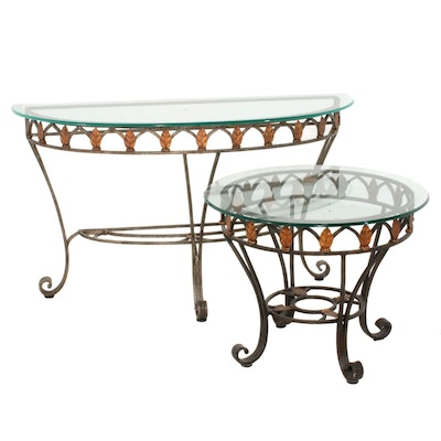 Hooker Furniture Parcel Gilt Metal and Glass Console and Side Tables