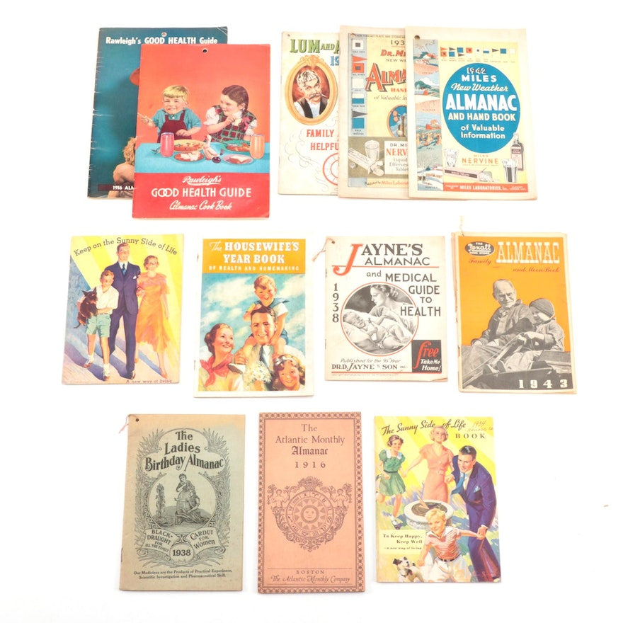 Almanacs, Housekeeping Books by Kellogg's, Rexall, Rawleigh's, and More, Vintage