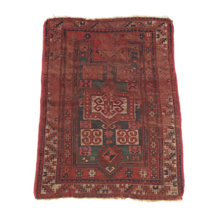 3'9 x 5'4 Hand-Knotted Caucasion Kazak Wool Rug