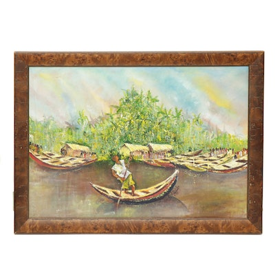 Acrylic Painting of Tropical River Scene with Wooden Boats