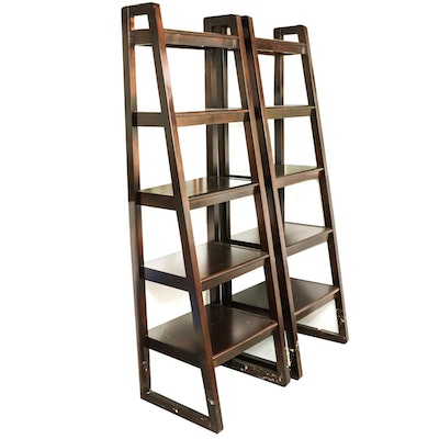 Pair of Five-Tier Graduated Ladder-Form Bookshelves