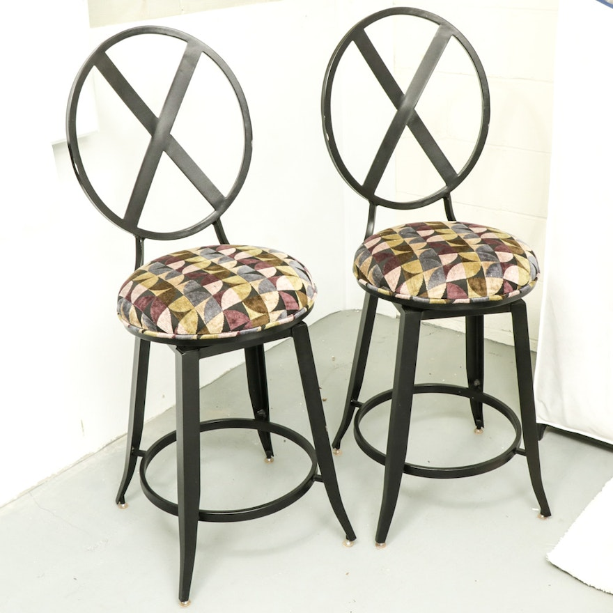 Pair of Kessler Industries Modernist Style Black Metal Counter-Height Barstools