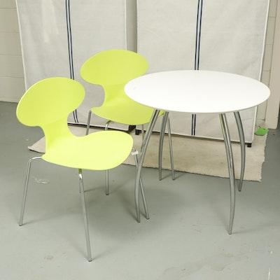 Three-Piece Modernist Style Chrome and Plastic Bistro Set