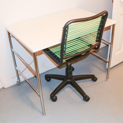 Prime Art Industrial Co. Acrylic and Chrome Desk with Corded Desk Chair
