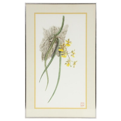 "Patricia Surh O'Connell Watercolor Painting ""Oncidium"""