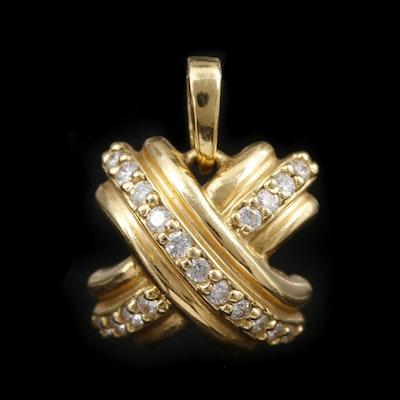 "Tiffany & Co. ""Signature X"" 18K Yellow Gold Diamond Pendant"