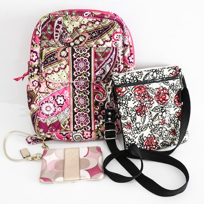 Coach Wristlet and Crossbody with Vera Bradley Quilted Backpack