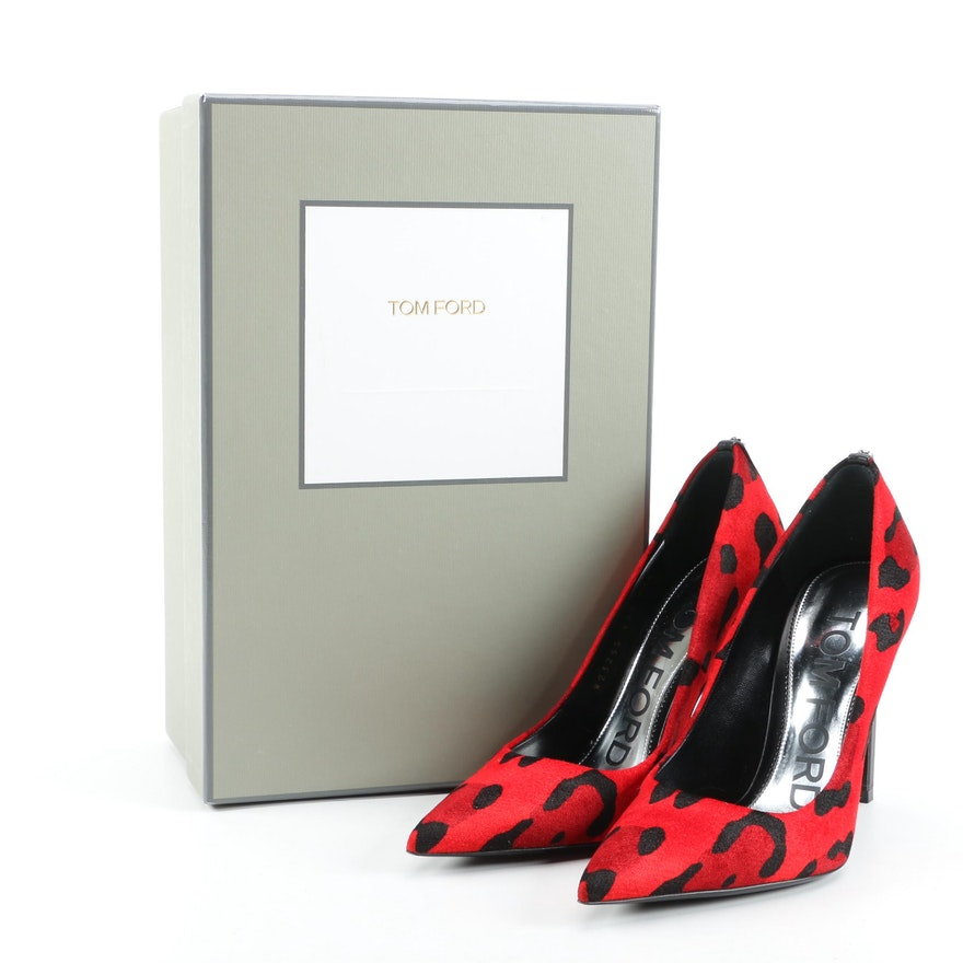 Tom Ford Red Leopard-Print Velvet Stiletto Pumps