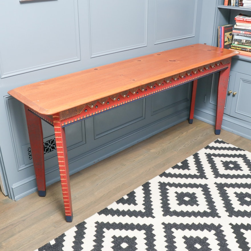 Southwestern Style Paint-Decorated and Pine Top Console Table