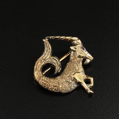 Les Bernard Sterling Silver Ruby Eyed Zodiac Capricorn Brooch