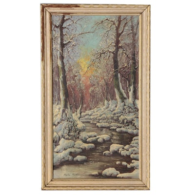 Bela Bodo Winter Landscape Oil Painting, Mid 20th Century