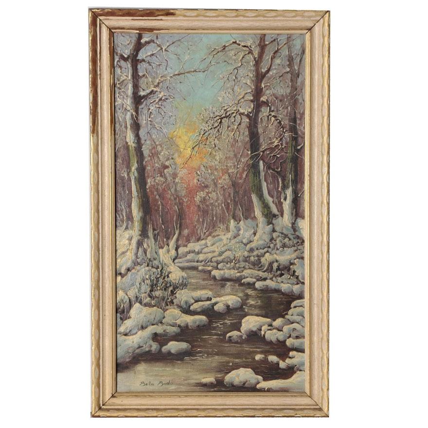 Bela Bodo Winter Landscape Oil Painting, Mid 20th Century