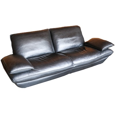 Adjustable Black Leather Sofa, Contemporary