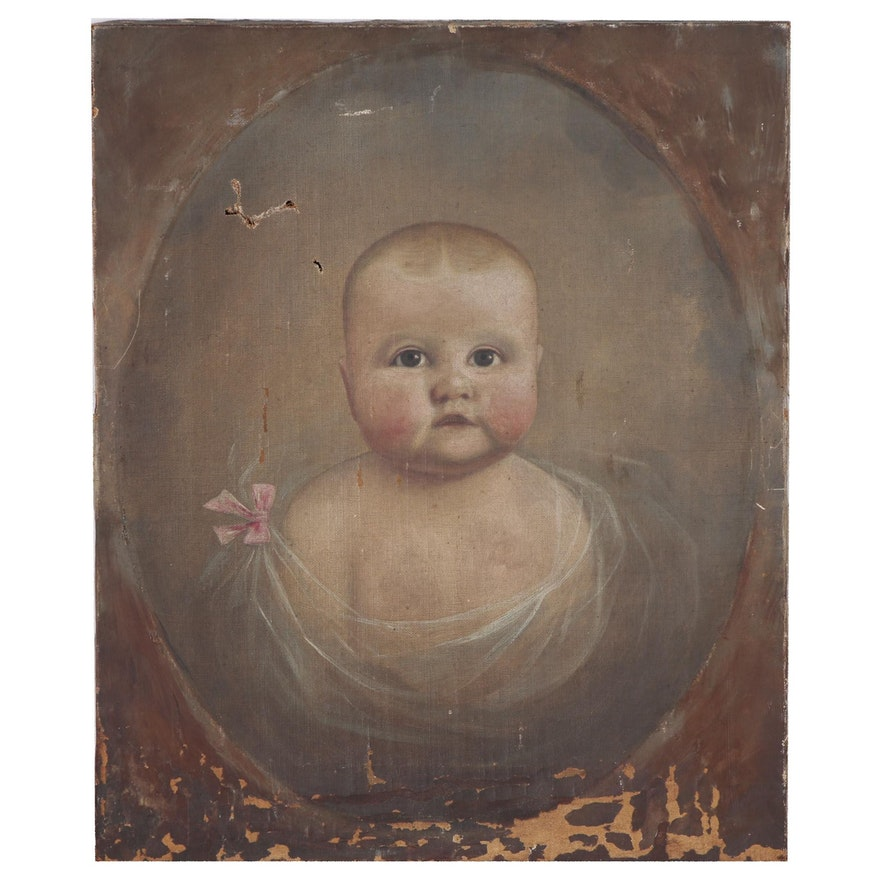 American School Folk Oil Painting Baby Portrait, 19th Century