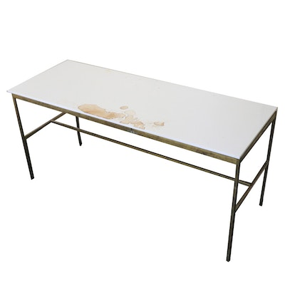 Modernist Style Brass-Tone Metal and Stone Top Coffee Table