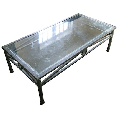 Metal and Glass Top Coffee Table