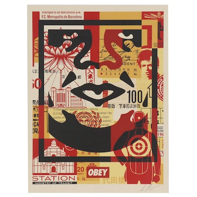 """Shepard Fairey Offset Print """"OBEY 3-Face Collage"""", 2018"""