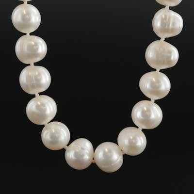 14K and 18K Yellow Gold Pearl Strand Necklace