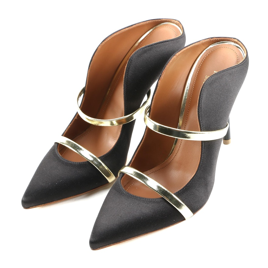 Malone Souliers Maureen Black Satin High Heel Mules with Gold Metallic Accents