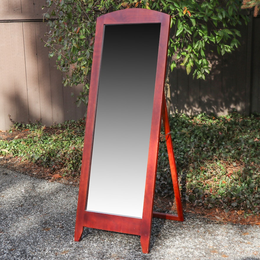 Cherry Stained Standing Wooden Mirror