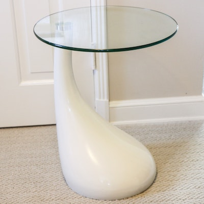 Modernist Style White Plastic and Glass Top Teardrop Side Table