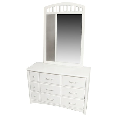 "Stanley Furniture ""Young America"" White Painted Dresser with Mirror"