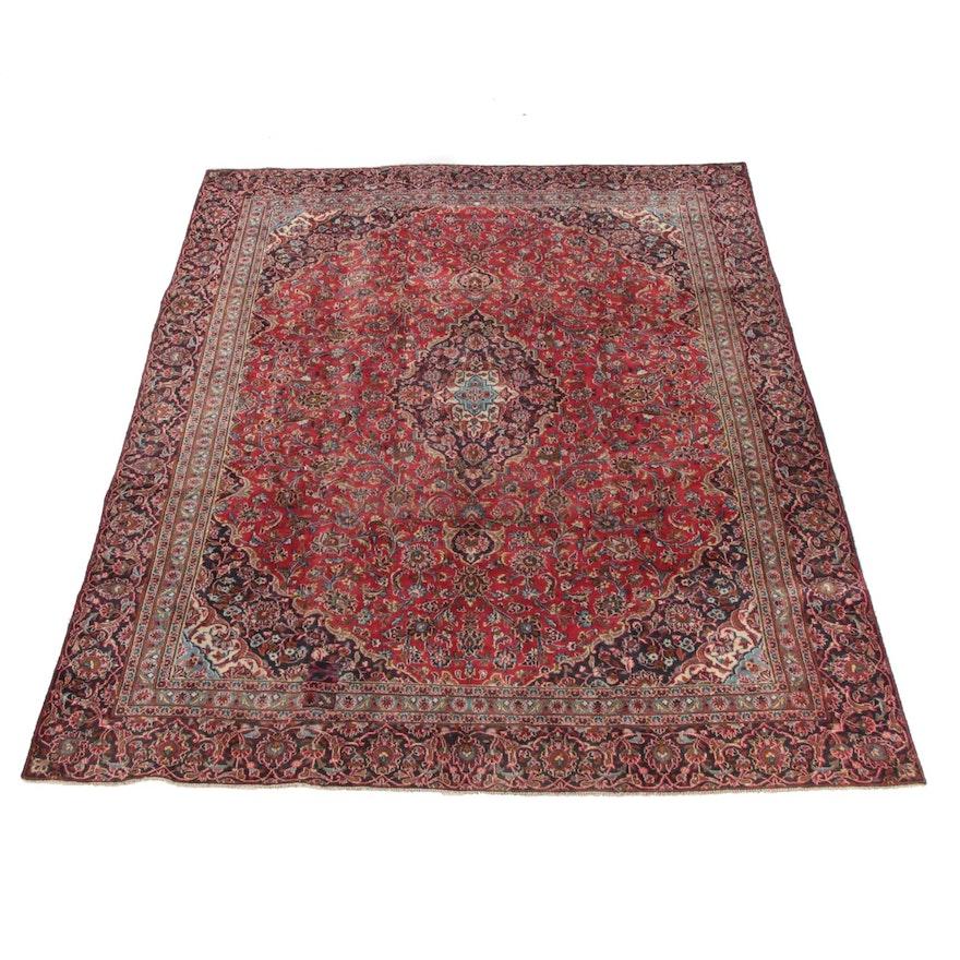 8'6 x 11'4 Hand-Knotted Persian Mashhad Wool Rug