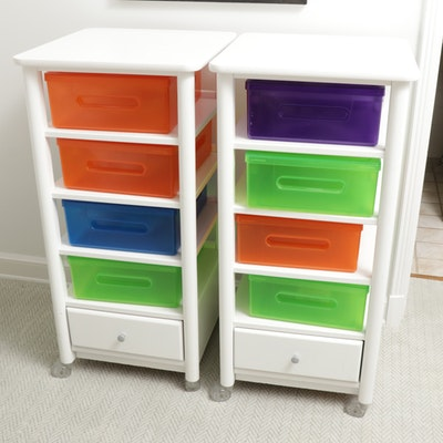 """Stanley Furniture """"Young America"""" Rolling Shelves with Colorful Storage Boxes"""