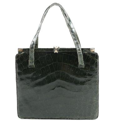 Dark Green Crocodile Frame Handbag, Vintage