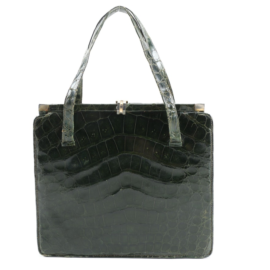 Dark Green Crocodile Frame Handbag, Vintage