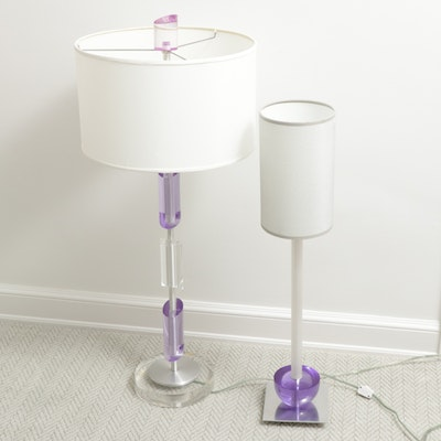 Purple and Clear Accented Table Lamps, Contemporary