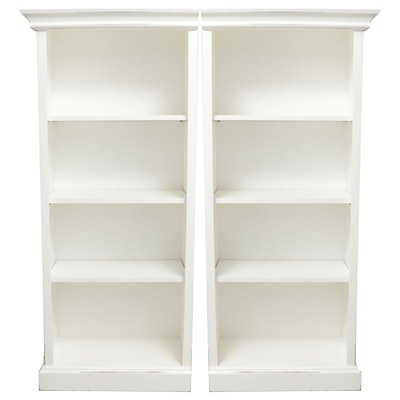 White Painted Adjustable Wood Bookshelves, Contemporary