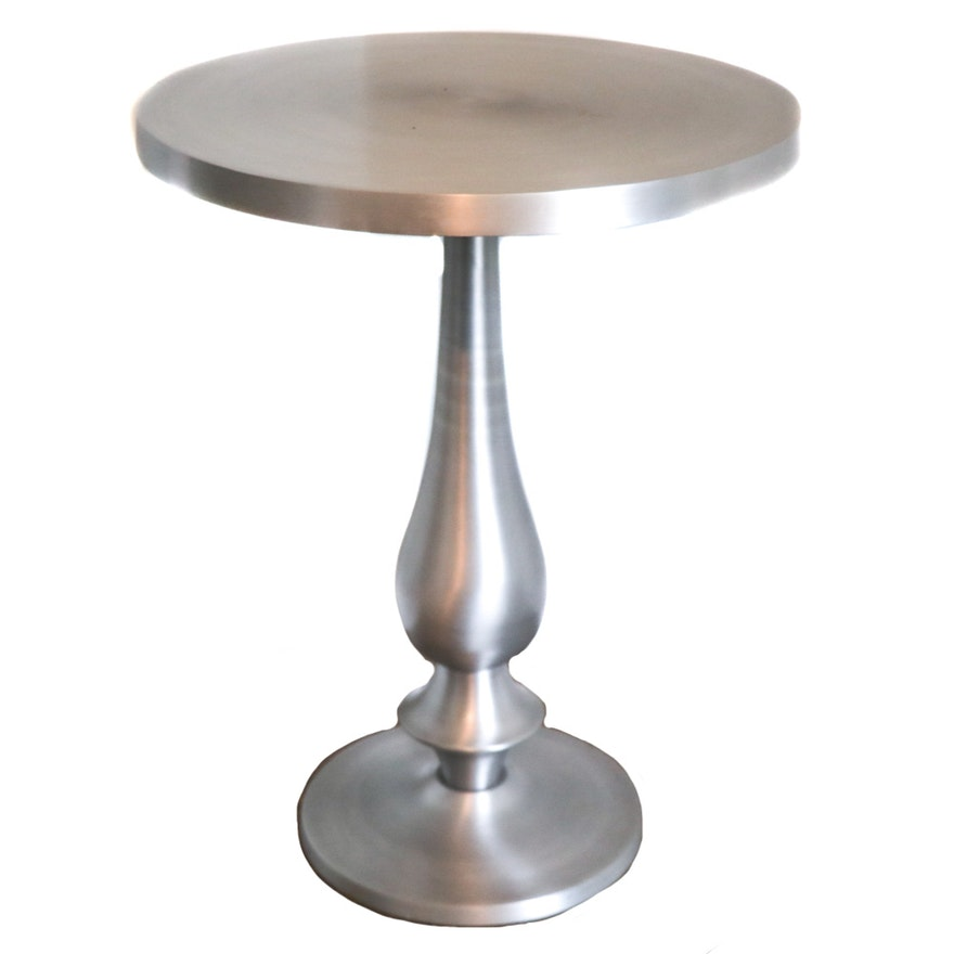 Brushed Metal Pedestal Side Table