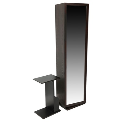 Mirror Front Swivel Storage Tower and Side Table