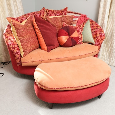 Carter Large Barrel Chair with Ottoman and Throw Pillows
