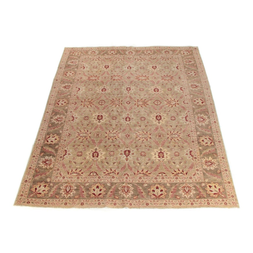 8'10 x 12'0 Hand-Knotted Signed Turkish Nakkas Oushak Wool Rug