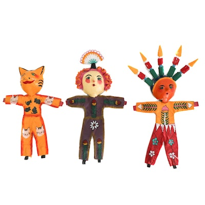 Hand-Painted Folk Art Wall Hangings