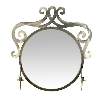 Steel Scrollwork and Candlestick Wall Mirror