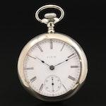 Elgin Nickel Open Faced Pocket Watch, Antique