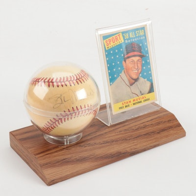 Stan Musial Signed National League Baseball with Topps Card  COA