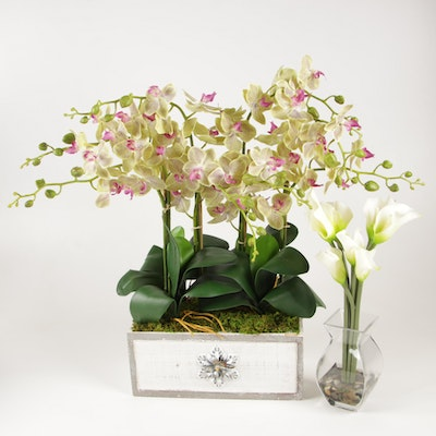Orchid and Calla Lily Artificial Floral Arrangements