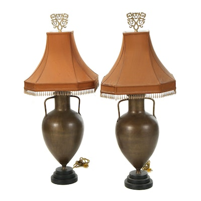 Pair of Patinated Metal Urn Lamps with Beaded Shades, 21st Century
